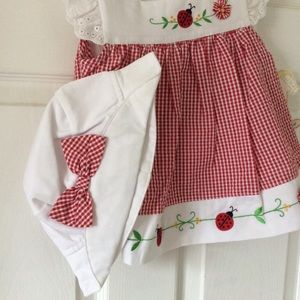 NWT Dress with Matching Hat and Bloomers Sz 12M